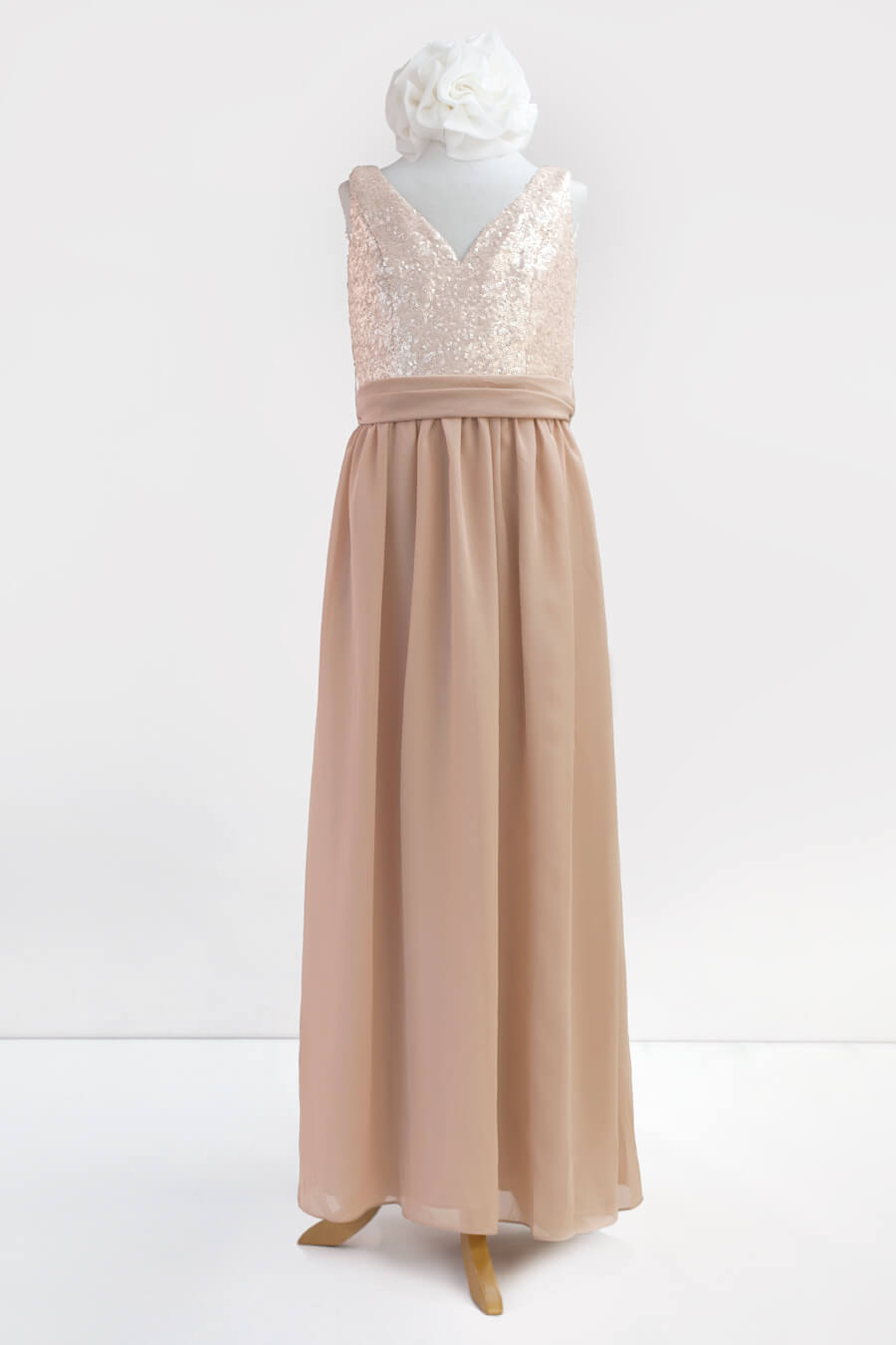 Style 1613jr sequin v neck tank bodice with gathered chiffon skirt waist tie and pockets ombrellifo Choice Image