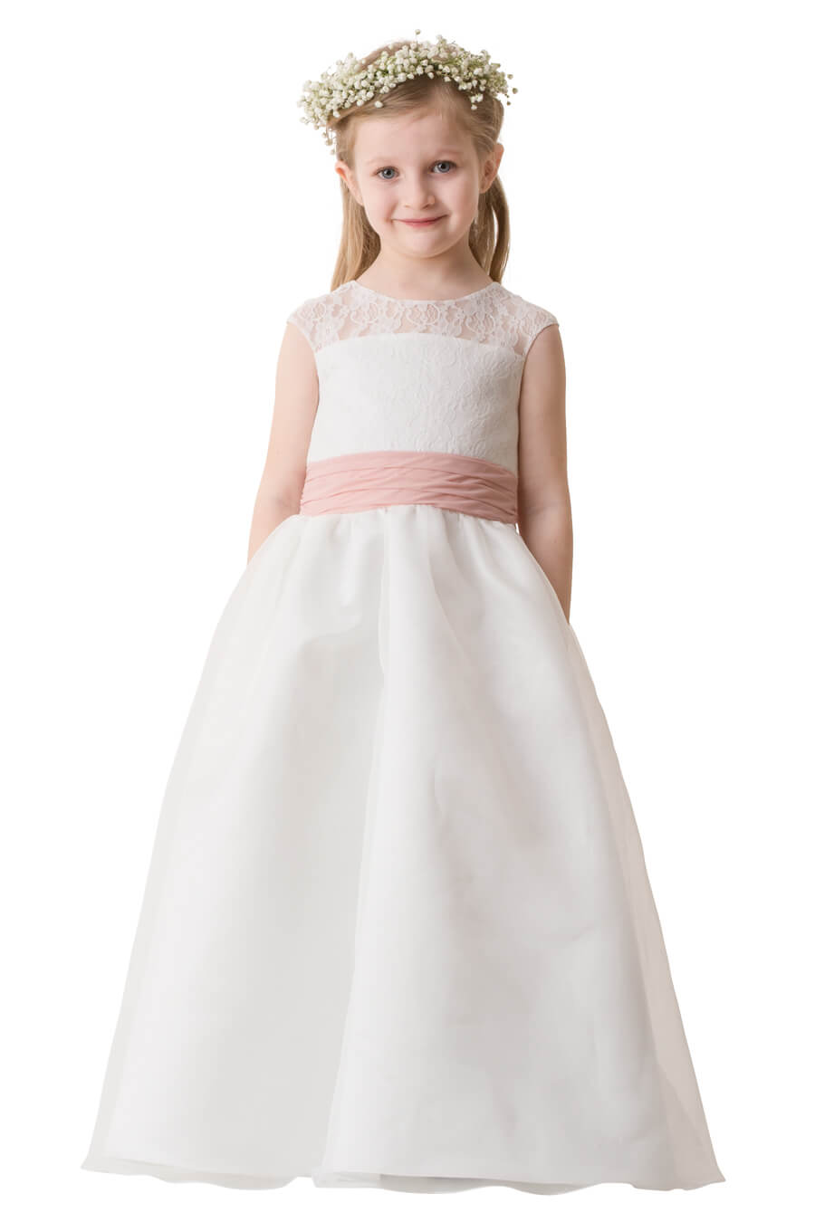 cd7029e7e13c Jewel neckline. Lace bodice with illusion yoke and cap sleeves. Ruched  waistband, detachable bow, and tulle skirt with center back zipper.