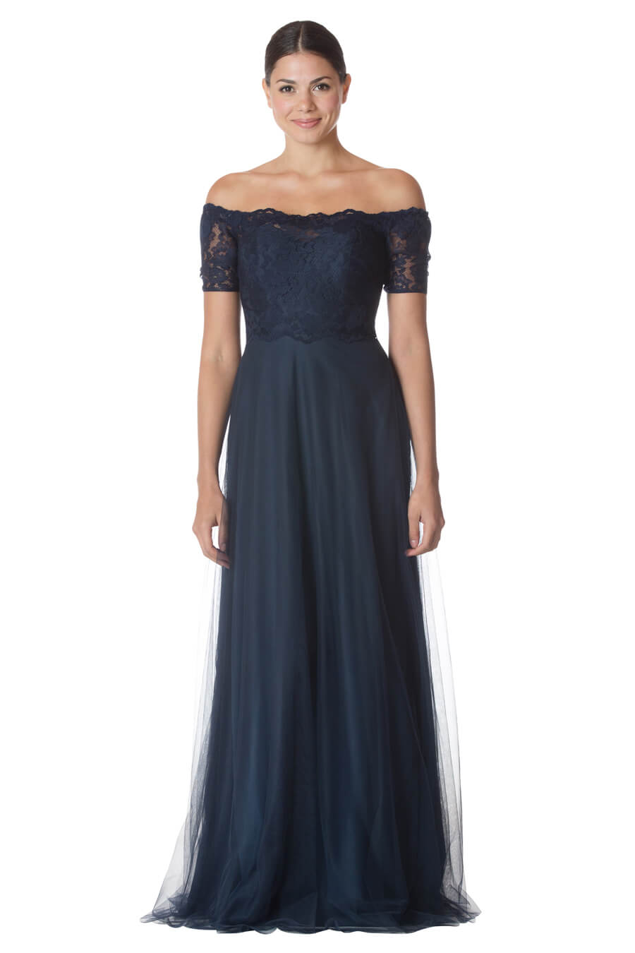 c1adf08d38ab Off-the-shoulder lace bodice with sheer short sleeves. A-line English net  skirt.