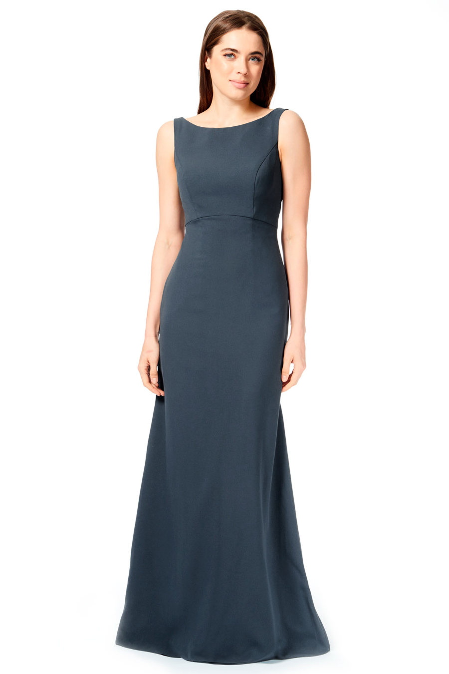 High Front Neckline With A Deep V Back Twist Knot At The Center Waist Maxi Skirt Flat